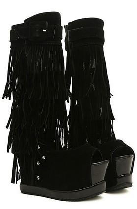 European Trend Style Peep Toe Tasseled Side Zipper Wedge Heel Sandals
