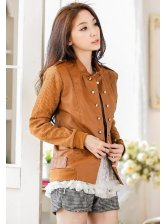 Latest Design PU Patchwork Double Breasted Stand Collar Jackets