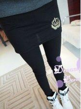 Korean Style Slim Fit Wrap Crown Embroidery Culottes Leggings