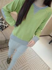 Korean Style Color Block Long Sleeve Cozy Hoodies