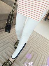 New Arrival Color Block Side Zip Slim Cotton Leggings