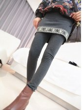 Pure Color National Style Embossing Cotton Culottes Leggings