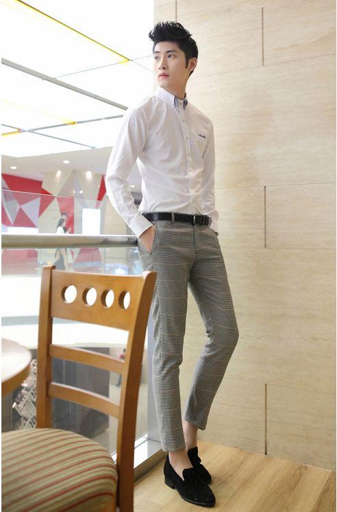 Korea Style Plaid Pattern Men Fitted Smart Pants