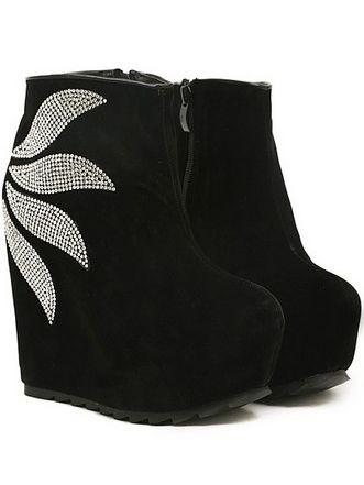 Fashion Style Diamonds Studded Side Zipper Increase Wedge Heel Platform Short Boots