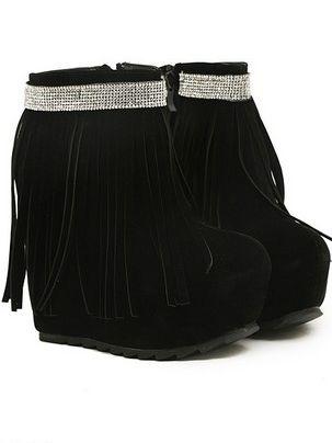 Latest Diamonds Studded Side Zipper Tasseled Increase Wedge Heel Platform Short Boots