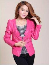 New Autumn Zip Decoration Pure Color PU Pink Coat