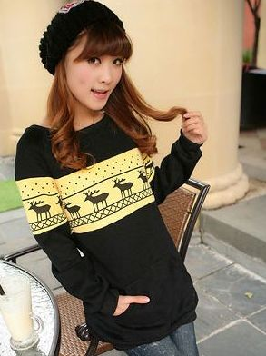 Winter Fall Deer Print Dot Kanga Pocket Long Hoodies