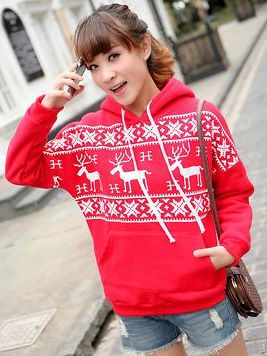 Winter Fall Deer Print Kanga Pocket Hooded Long Sleeve Hoodies