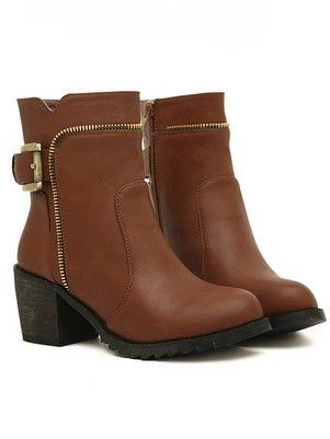 Cool Style Side Zipper Metal Decoration Chunky Heel Platform Short Boots