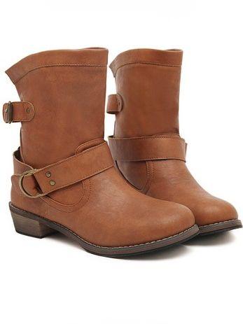 Stylish Belt Buckle Chunky Heel Platform Short Boots In Brown