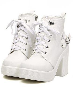 Fashion Style Bandage Belt Buckle Round Toe Chunky Heel Platform Ankle Boots