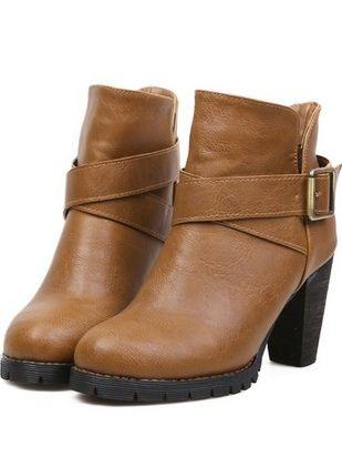 Britpop Stylish Belt Buckle Round Toe Chunky Heel Platform Ankle Boots