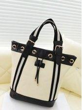 Star Style PU Color Block Vintage Backpacks