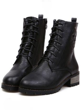Korean Style Skull Design Lace Up Side Zipper Chunky Heel Platform Short Boots