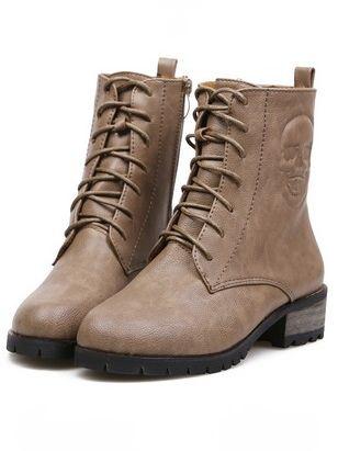 Latest Style Side Zipper Bandage Round Toe Chunky Heel Platform Khaki Ankle Boots