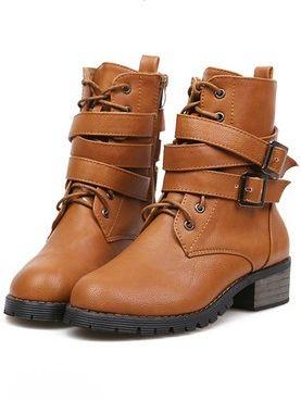 Stylish Fall Winter Belt Buckle Bandage Round Toe Chunky Heel Platform Ankle Boots