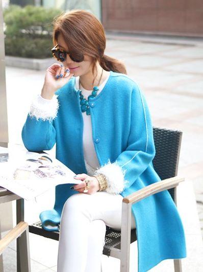 Korean New Style Colo Block Simplicity Long Coat