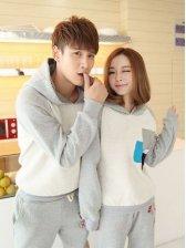 New Arrival Color Block Applique Hooded Fleece Gray Couple Hoodies