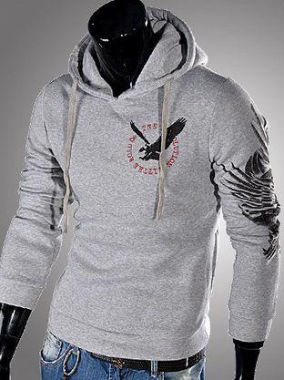 Latest Stylish Men Eagle Printing Slim Hoodies In LightGray
