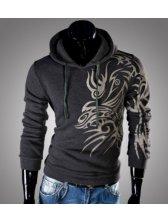 Fashion Men Printing Long Sleeve Slim Fitted Hoodies