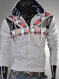 Korean Style Plaid Patchwork Zip Up Hooded Men Hoodies