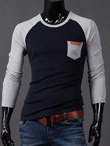 New Fashion Round Collar Long Sleeve Slim Men Tee