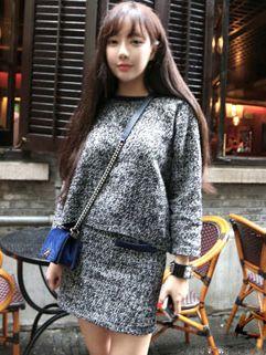 Vintage Look Tweed Long Sleeve Round Neck Two Pieces Dress