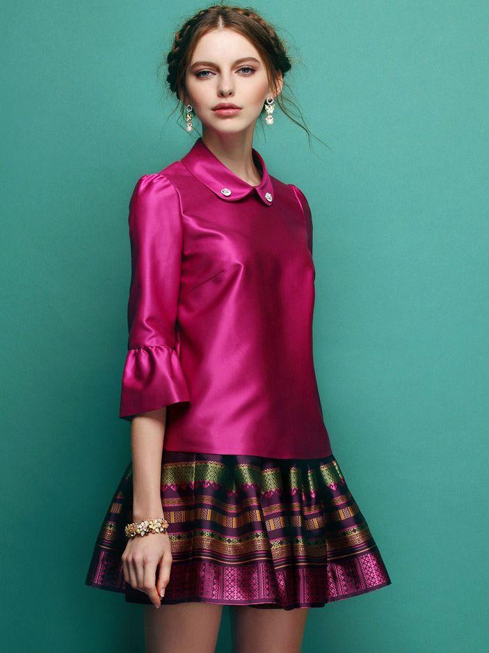 Ladylike Allure Studded Lapel Flare Sleeve Printing Twinset Dress