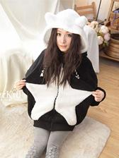 Korean Cute Style Fluffy Stars Hooded Color Block Coat