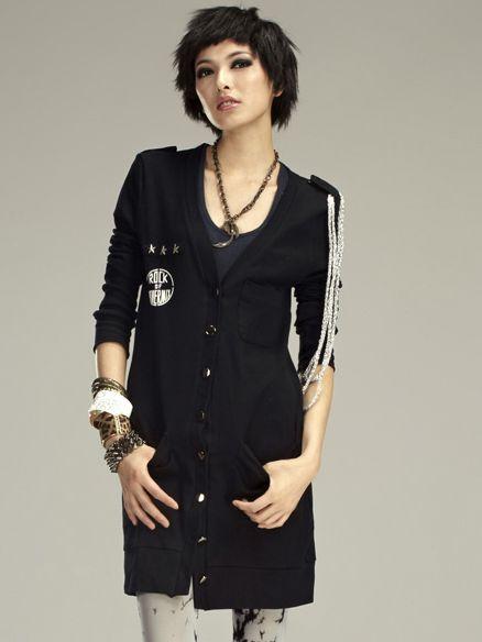 Young Fashion V-Neck Star Rivets Pocket  Single Breasted Long Hoodies
