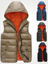 2013 Winter Lasted Hooded Collar Zip Up Men Cotton Vest Coats