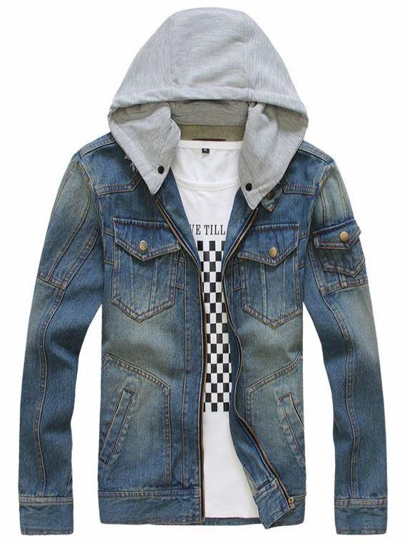 Fall Korea Detachable Hooded Collar Men Zipper Flap Pockets Denim Jackets