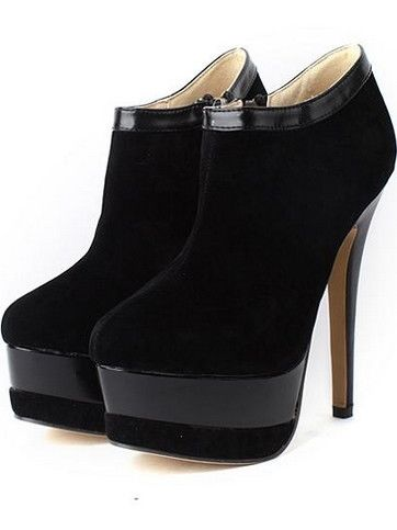 Trendy Style Montage Side Zipper High Heel Double-Deck Platform Ankle Boots