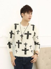 Winter Lasted Matching Color Round Neck Men Cross Pullovers