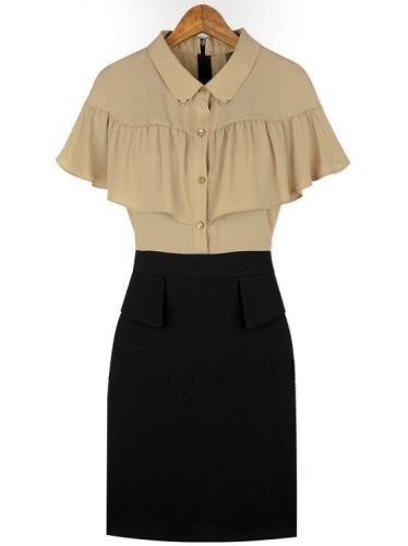 Faux Two Pieces Ruffles Wrap Lapel Patchwork Short Sleeve Dress
