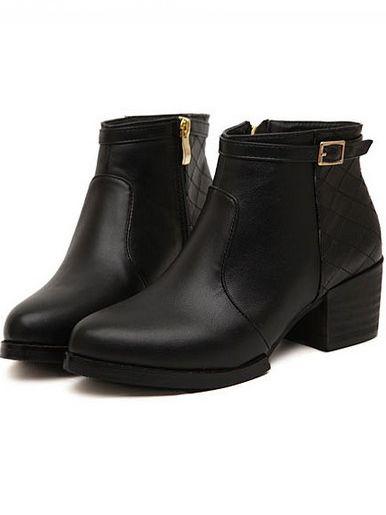 Trendy Style Belt Buckle Side Zipper Chunky Heel Ankle Boots
