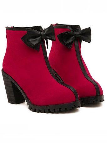 Elegant Lady Bowknot Back Zipper Chunky Heel Ankle Boots