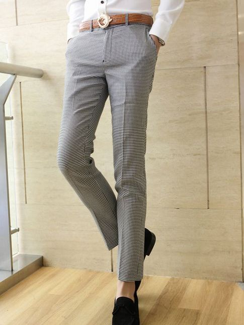 Korea Black&White Plaid Fitted Men Smart Pants