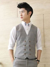 Korea Men Double-Breasted Plaid Pattern Fitted Suit Waistcoats