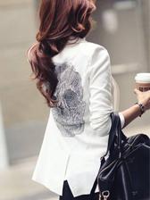 Korean Style Pure Color Skull Back Lapel Short Suits