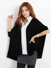 Korean Style Casual Color Block Lapel Knitting Blouse