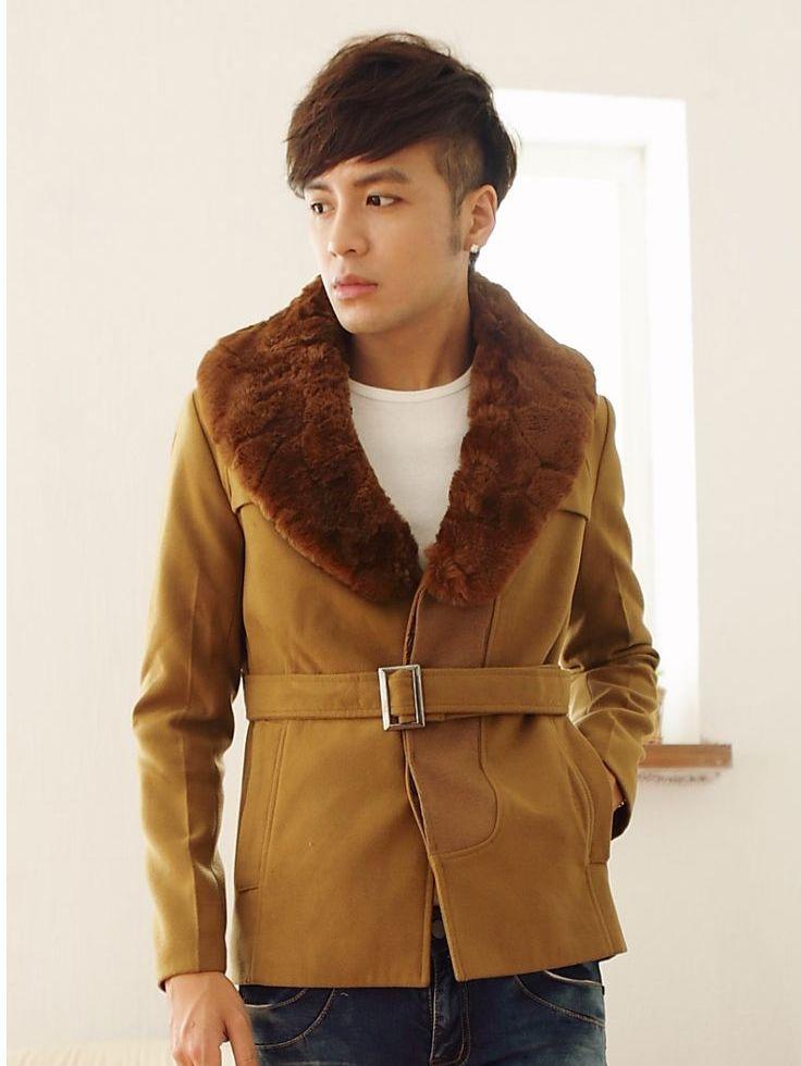 Korea Fur Turn Collar Concealed Buttons Men Wool Coats