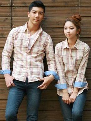 Young Fashion Plaid Color Collision  Lapel Long Sleeve Couple Shirts