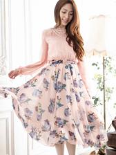 Elegant Women Floral Printing Slim Waist Round Collar Dress