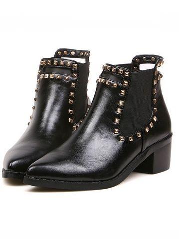 Britpop Style Rivet Design Elastic Card Chunky Heel Platform Ankle Boots
