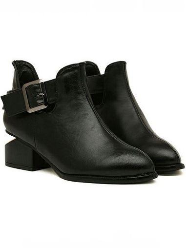 Trendy Style Belt Buckle Chunky Heel Platform Ankle Boots