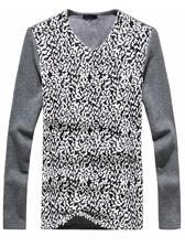 Newly Winter Patterns V Collar Men Micro Velvet Thick Tee