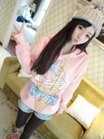 Adorable Look Ice Cream Hooded Long Sleeve Hoodies
