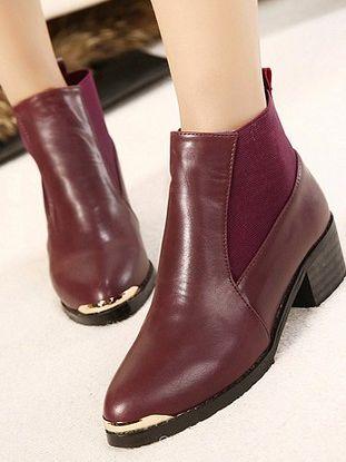 Trendy Fashion Elastic Band Metal Decoration Chunky Heel Platform Boots