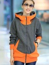 Korean Modern Stylish Zip Up Color Block Long Sleeve Hoodies